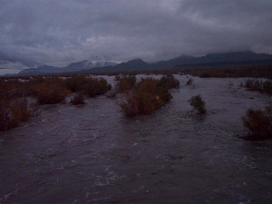Gila River at Gillespie Dam after two inches of rain. efoto by Bill.